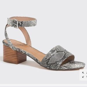 NEW J Crew Snakeskin Print Block Heel Sandals